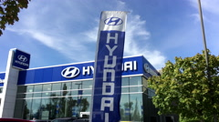 Hyundai automobile dealership in Port Coquitlam BC Canada with 4k resolution. Stock Footage