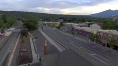 Aerial shot of the train station in downtown Flagstaff, Arizona Stock Footage