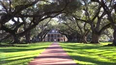 A beautiful gracious Southern mansion amongst a long treelined arcade. Stock Footage