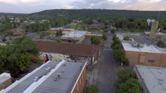 Aerial view of the historic Weatherford Hotel in downtown Flagstaff, Arizona Stock Footage