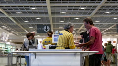 Interior of modern cafeteria restaurant in IKEA Store Stock Footage