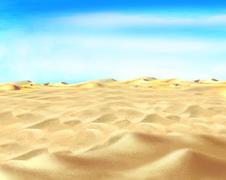 Yellow Sand under Blue Sky in a Desert Stock Illustration