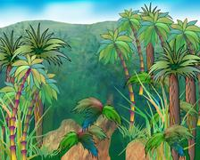 Green Crowns of Palm Trees on a Background of Mountains Stock Illustration