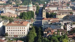 Bergamo - Old city (Città Alta). Landscape on the new city and downtown. Stock Footage