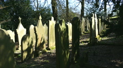 Pan across tombstones in an old cemetery. Stock Footage