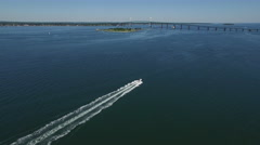 Newport RI Aerial, speedboat on Narragansett Bay Stock Footage