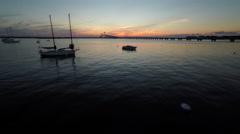 Newport RI Aerial, Newport Bridge and Harbor at Sunset Stock Footage