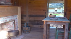The restored interior of a slave cabin in the deep south. Stock Footage