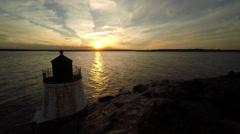 Newport RI Aerial, Narragansett Bay, sunset Stock Footage