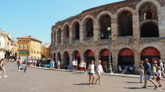 People strolling at Arena in Verona, Italy Stock Footage