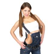 Beautiful sexy woman in jeans overall Stock Photos
