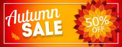 Shiny Autumn Leaves Sale Banner. Business Discount Card. Vector Illustration Stock Illustration