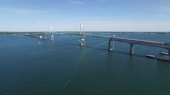 Newport RI Aerial, Newport Bridge Stock Footage