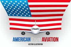 Civil Aircraft with flag Stock Illustration