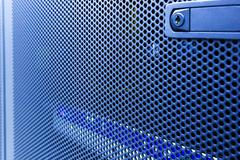 Modern high tech internet data center. Close up door supercomputer with blur Stock Photos