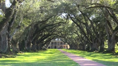 A wide shot of a beautiful gracious Southern mansion on an estate amongst oak Stock Footage
