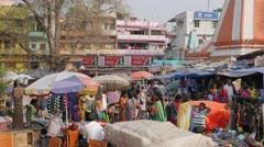 People walking around market,BodhGaya,India Stock Footage