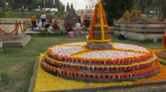 Flower decorated structure,BodhGaya,Mahabodhi Temple Complex,India Stock Footage