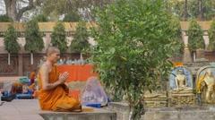 Monk praying,BodhGaya,Mahabodhi Temple Complex,India Stock Footage