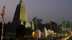 Temple in the evening,BodhGaya,Mahabodhi Temple Complex,India Stock Footage