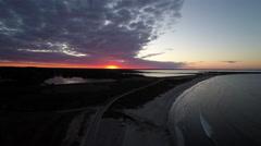Newport RI Aerial, Second Beach, sunrise Stock Footage