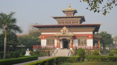 Buthanese monastary,BodhGaya,India Stock Footage