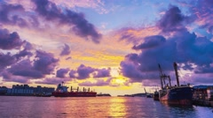 View towards the entrance of Kaohsiung port at sunset Stock Footage