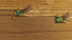 Harvesters in the field. Stock Footage