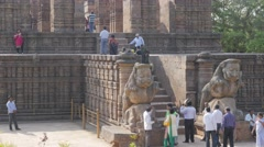 Sun Temple entrance with lion statues,Konark,India Stock Footage