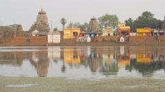 Bindu Sagar lake and small temples,Bhubaneswar,India Stock Footage