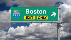 Boston Interstate 95 Exit Sign with Time Lapse Clouds Stock Footage