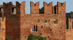 Verona - Castelvecchio - Battlements Stock Footage