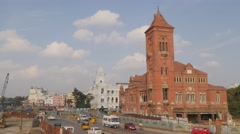 Victoria Public Hall and traffic,Chennai,India Stock Footage