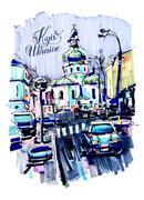 Original marker urban sketch on paper of Kyiv Podol landscape Stock Illustration