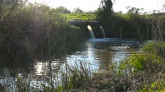 Contaminated water is dumped into a waterway through industrial pipes. Stock Footage