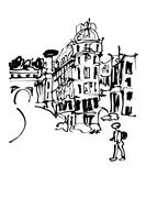Black and white sketch hand drawing of Rome Italy famous citysca Stock Illustration