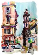 Original freehand sketch watercolor painting of Rome Italy lands Stock Illustration