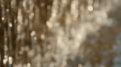 Sparkling water surface bokeh, flowing river water out of focus Stock Footage
