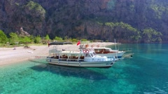 Boats, Butterfly Valley Turkey Stock Footage