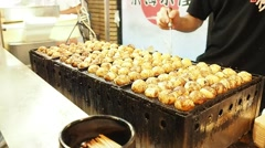 Takoyaki - Osaka's specialty snacks - JAPAN FOOD Stock Footage