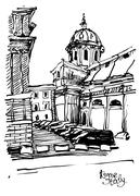 Black and white sketch drawing of Rome cityscape, Italy Stock Illustration