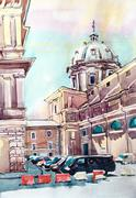 Watercolor painting of Rome Italy famous landmark, old italian i Stock Illustration