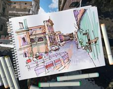 Marker drawing of Rome Italy street landscape, urban sketch Stock Illustration