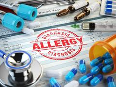 Allergy diagnosis. Stamp, stethoscope, syringe, blood test and pills on the c Stock Illustration