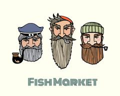 Fish market poster Stock Illustration