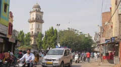Clocktower with traffic,Hyderabad,India Stock Footage