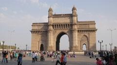 Gateway Of India with indian tourists,Mumbai,India Stock Footage