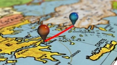 Geolocation on the map of Europe Stock Footage