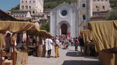 San Giovanni (St John) church in Gubbio and Palazzo dei Consoli palace, Italy Stock Footage