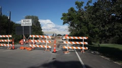 Highland Village Road closed at entrance to Southbound Highway 35E. Stock Footage